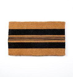 "Black Horizontal Stripe Doormat 18"" x 30"" E5039"
