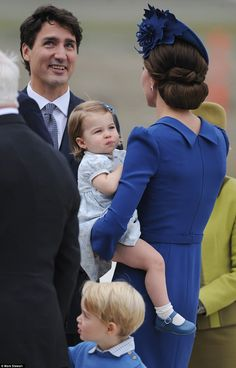 Prime Minister Trudeau, left, greeted them at the airport, but all eyes were on poor Princess Charlotte's knee, which seems to have been grazed