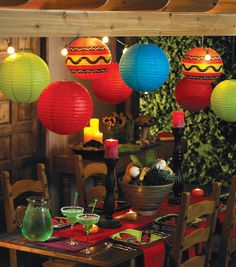 White paper lanterns, paint or color designs for fiesta look (or buy them in colors) ...Cinco de Mayo Party Decor