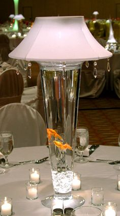 LED Lit Cylinder Vase With Lamp Shade (shines up and down) White with Crystals Lampshade for More Formal Occasion with Angel Fish! Fish Centerpiece, Eiffel Tower Vases, Vase With Lights, Large Lamps, Save On Crafts, Diy Crafts, Event Lighting, Wedding Lighting, Tall Vases