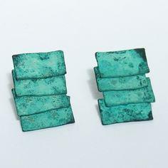 patina roof earrings | Contemporary Earrings by contemporary jewellery designer mariko sumioka