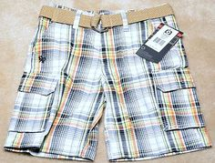 NWT BOYS Southpole Belted Plaid Shorts