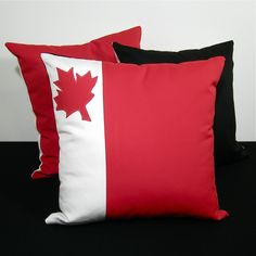 Red White Pillow Cover - Canadian Maple Leaf Cushion - Decorative Outdoor Canada Flag - July 1st - Sunbrella - 16 inch. $55.00, via Etsy.