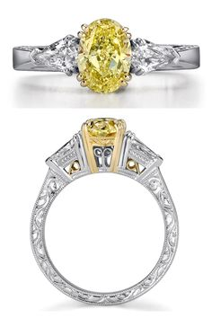 Fancy Oval Canary Yellow Diamond and Platinum Ring, accented with Pear-Shaped Side Diamonds Canary Yellow Diamonds, Platinum Ring, Pear Shaped, Wedding Rings, Fancy, Engagement Rings, Jewels, Color, Jewelery
