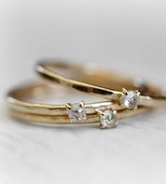Gold Petite Diamond Ring by Moira K. Lime Jewelry