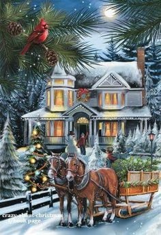 Christmas card horses sleigh, home at night by moon