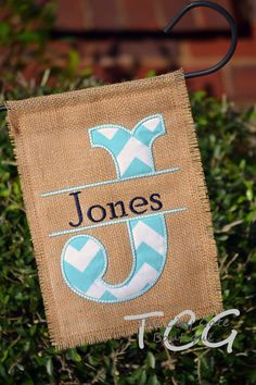 Personalized Chevron Burlap Garden Flag by TheCityGate on Etsy, $25.00