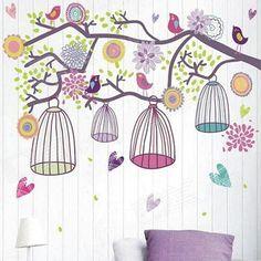 Birdcage colorido de Bohinemian parede Amanhecer Sticker - Multicolorido