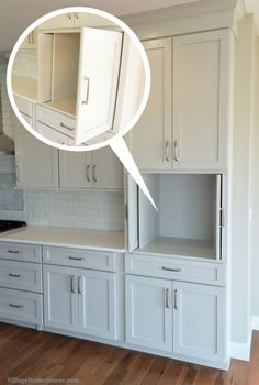 Pocket doors in kitchen cabinetry. Perfect for hiding a TV, microwave, or coffeestation within. | VillageHomeStores.com by lolita