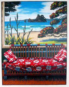 New Zealand Houses, New Zealand Art, New Zealand Landscape, Nz Art, Kiwiana, Types Of Painting, Coastal Art, Beach Art, Acrylic Painting Canvas