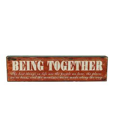 Take a look at this Burnt Orange 'Being Together' Block on zulily today!