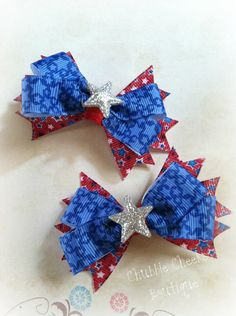 4th of July Piggie Tail bow clips by ChubbieCheeks on Etsy, $4.00