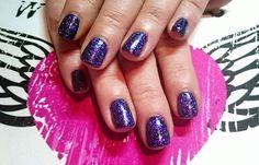 Laura Farag uses CND Shellac Midnight Swim with Vixen Multi Glitz #glitter, lovely! #nails #nailart