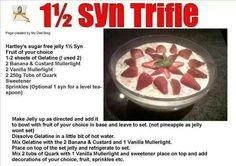 Slimming world low syn trifle recipe Slimming World Trifle, Slimming World Deserts, Slimming World Puddings, Slimming World Free Foods, Syn Free Desserts, Cookie Desserts, Slimming Eats, Slimming World Recipes, Low Syn Treats
