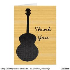Gray Country Guitar Thank You Card