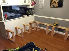 This DIY Dining Booth Will Make Your Kitchen Table Seem So Boring - Since There Wasn't Much Support Against The Wall He Added Square Supports Booth Seating In Kitchen, Kitchen Booths, Dining Booth, Dining Room Bench Seating, Booth Dining Table, Corner Bench Dining Table, Square Dining Room Table, Corner Bench Seating, Dining Chairs