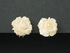 Vintage Faux Ivory Earrings  Roses  800 silver from  ShinyShelly