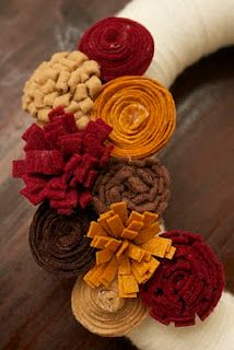 Fall wreath idea - I could also see a charming bouquet of these felt flowers for an autumn wedding