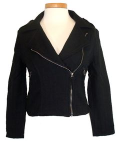 NEW Lucky Brand Womens Jacket Motorcycle Fitted Cropped Textured Black Sz L $169 #LuckyBrand #Motorcycle