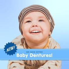 WE'RE PLEASED TO ANNOUNCE our all-new line of baby dentures! You and your baby will love the cosmetic and health benefits of dentures that are just their size. Dental Kids, Dental Care, Holistic Dentist, Best Dental Implants, Dental Veneers, Root Canal Treatment, Dental Bridge, Dental Humor, Dental Procedures