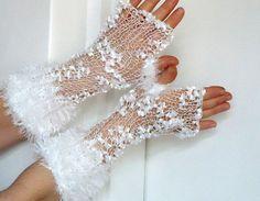 white bridal gloves fingerless gloves hand knitting crochet.