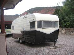 Vintage 1961 Shasta glamper camper in black & white