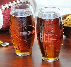 Personalized Glass Football Tumbler #theweddingoutlet