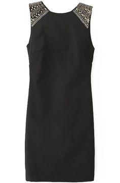 Vestido lentejuelas en hombro sin manga-Negro 15.42