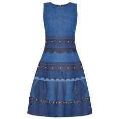 REDVALENTINO Studded sleeveless denim dress (14 880 ZAR) ❤ liked on Polyvore featuring dresses, denim, fit and flare dress, embellished dresses, blue dress, red valentino dress and denim dress