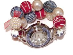 Red White and Denim Chunky Beaded Watch Red White by BeadsnTime, $30.00