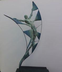 Bronze Small /Little Abstract Contemporary /statues #sculpture by #sculptor Nicola Godden titled: 'Vol d`Etincelle II' #art