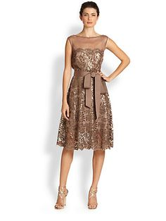 Tadashi Shoji - Belted Sequin Dress - Saks.com  ~  Possible Mother of the Groom dress