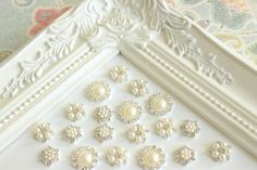 Pearl Rhinestonel Push Pins Ivory Pearl by fluteofthehour on Etsy