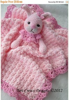FLASH SALE Crochet Pattern Bunny Huggy Blanket by Teri Crews instant download PDF format