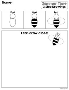 Easy to use worksheets teaching students how to draw simple summer pictures in THREE easy steps! Grade 1 Art, Speech And Language, Language Arts, Kindergarten Lessons, Student Teaching, Summer Pictures, Step By Step Drawing, Classroom Activities, Summer Colors