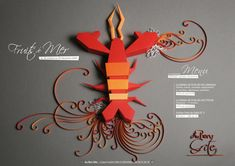 #paperart #design #photography Paper art: awesome idea when the real object/creature isn't a possibility. It looks fresh/clean and creates great background to place text [Lobster for Dinner by Zim And Zou]