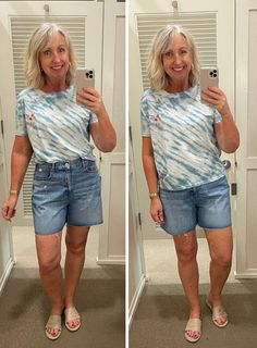 Loft, vacation style, women's style, denim shorts, casual looks, comfy t-shirts Vacation Style, Vacation Fashion, Over 50 Womens Fashion, Flutter Sleeve Top, Curvy Fit, Eclectic Style, Wide Leg Jeans, Swing Dress, Casual Looks