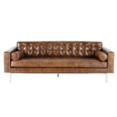 3 seater leather button sofa in brown