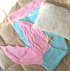 Pink & Blue Mermaid Tails for Children ~ Super soft ADORABLE mermaid tail blankets are every little girls most favorite thing! Shop at seatailshop.com