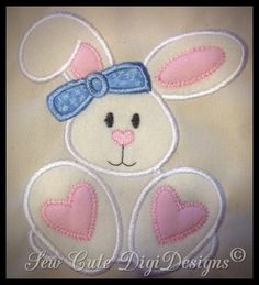 Bunny Applique Design by SewCuteDigiDesigns on Etsy Applique Stitches, Machine Embroidery Applique, Free Machine Embroidery Designs, Applique Patterns, Applique Designs, Sewing Appliques, Learn Embroidery, Quilting, Embroidery Techniques