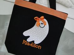 Personalized Ghost Halloween Candy Bag with Ribbon Trim-halloween, treat, candy, skull, cross bones, personalized, custom, orange, black, fall, party, trick or treating, witch, pumpkin, girl, bow, bows, ribbon, boutique, ghost