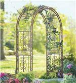 Burnished Bronze Finished Iron Montebello Garden Arbor With Gate | Arbors & Trellises