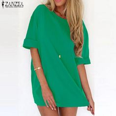 fec8b575f6a ZANZEA 2018 Summer Style Fashion Women Casual Loose Dress Sexy Ladies Short  Sleeve Solid Color Mini Dresses Vestidos Plus Size