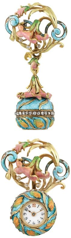 Art Nouveau Gold, Enamel and Diamond Ball Lapel-Watch  18 kt., mechanical, pin-set and bezel-wind centering a circular white porcelain dial with Arabic numerals, diameter approximately 10 mm., circa 1900
