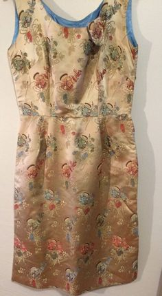 Vintage 1960's women Size S Gold Chinese Silk Brocade Wiggle dress