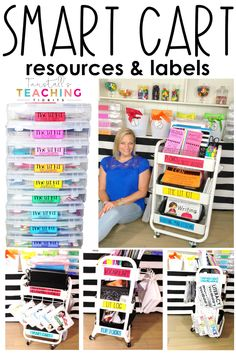 guided reading resources the smart cart. Phonics sight words the lit kit literacy stations free labels writing mini-lessons organization. Classroom Organisation, Teacher Organization, Teacher Hacks, Classroom Management, Behavior Management, Classroom Storage Ideas, Guided Reading Organization, First Grade Classroom, Preschool Classroom