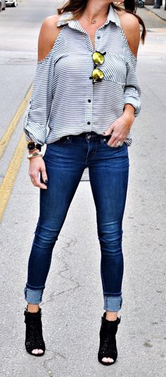 #spring #outfits Striped Open Shoulder Blouse & Skinny Jeans & Black Open Toe Booties