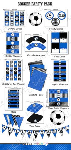 181b15c39637 Blue Soccer Party Pack - Printable - Instant Download