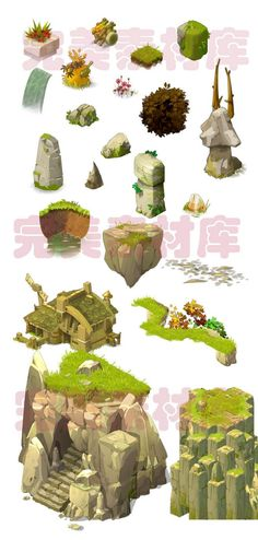 Environment art of Dofus game. For reference. Game Design, Prop Design, Game Environment, Environment Concept Art, Environment Design, Sprites, Pixel Art, 3d Art, 2d Game Art