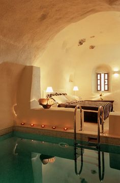 bedroom/indoor pool combination